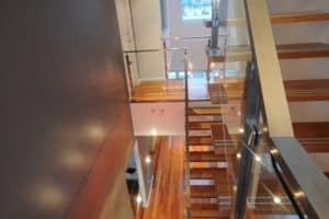 1. Custom made steel mono rail staircase with custom stainless steel & glass balustrade 1 - Stairs by Design