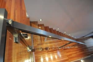 2. Custom made steel mono rail staircase with custom stainless steel & glass balustrade 2 - Stairs by Design