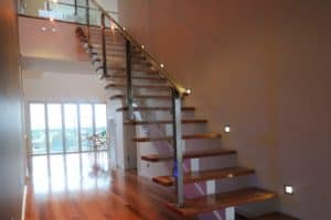 3. Custom made steel Mono rail staircase with custom stainless steel & glass balustrade - Stairs by Design