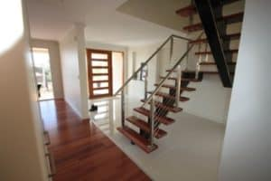 4. Custom made steel mono rail with Sydney Blue Gum treads - Stairs by Design