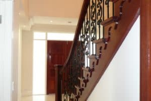 Custom double flared profile cut stair with steel balustrade - Stairs by Design