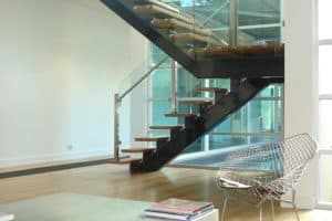 Custom side mounted glass to treads - Stairs by Design
