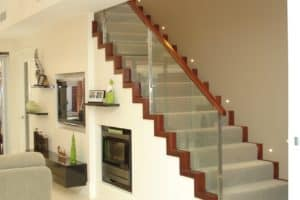 Modern profile cut stair with custom stainless steel & glass balustrade - Stairs by Design
