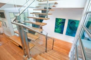Steel mono rail with Blackbutt treads & custom stainless steel & glass balustrade